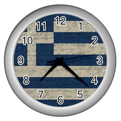 Vintage Flag   Greece Wall Clocks (silver)  by ValentinaDesign