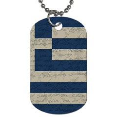 Vintage Flag   Greece Dog Tag (two Sides) by ValentinaDesign