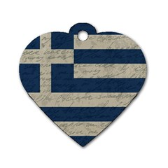 Vintage Flag   Greece Dog Tag Heart (two Sides) by ValentinaDesign