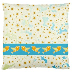 Birds And Daisies Large Cushion Case (two Sides) by linceazul