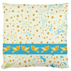 Birds And Daisies Large Flano Cushion Case (one Side) by linceazul