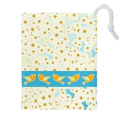 Birds And Daisies Drawstring Pouches (xxl) by linceazul