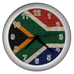 Vintage Flag   South Africa Wall Clocks (silver)  by ValentinaDesign