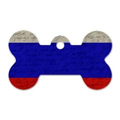 Vintage Flag   Russia Dog Tag Bone (one Side) by ValentinaDesign