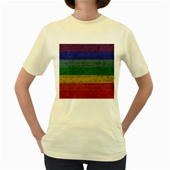 Vintage Flag   Pride Women s Yellow T Shirt by ValentinaDesign