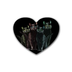 Cats Heart Coaster (4 Pack)  by Valentinaart
