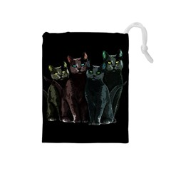 Cats Drawstring Pouches (medium)  by Valentinaart