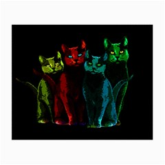 Cats Small Glasses Cloth (2 Side) by Valentinaart