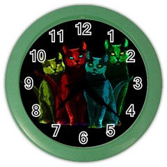 Cats Color Wall Clocks by Valentinaart
