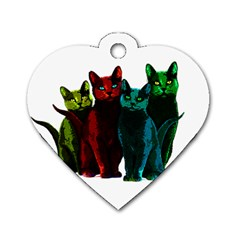 Cats Dog Tag Heart (one Side) by Valentinaart