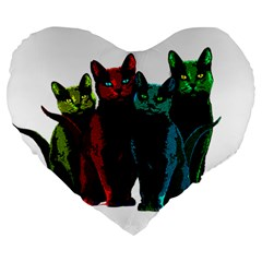 Cats Large 19  Premium Heart Shape Cushions by Valentinaart