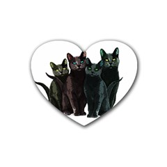 Cats Rubber Coaster (heart)  by Valentinaart