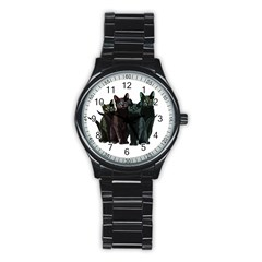 Cats Stainless Steel Round Watch by Valentinaart