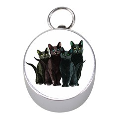 Cats Mini Silver Compasses by Valentinaart