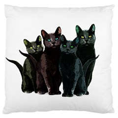 Cats Large Flano Cushion Case (one Side) by Valentinaart