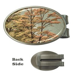 Landscape Scene Colored Trees At Glacier Lake  Patagonia Argentina Money Clips (oval)  by dflcprints