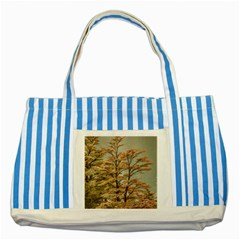 Landscape Scene Colored Trees At Glacier Lake  Patagonia Argentina Striped Blue Tote Bag by dflcprints