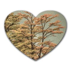Landscape Scene Colored Trees At Glacier Lake  Patagonia Argentina Heart Mousepads by dflcprints