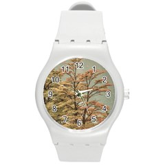 Landscape Scene Colored Trees At Glacier Lake  Patagonia Argentina Round Plastic Sport Watch (m) by dflcprints