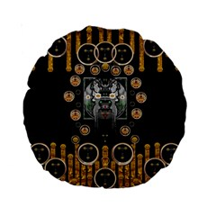 Foxy Panda Lady With Bat And Hat In The Forest Standard 15  Premium Round Cushions by pepitasart