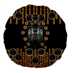 Foxy Panda Lady With Bat And Hat In The Forest Large 18  Premium Flano Round Cushions by pepitasart