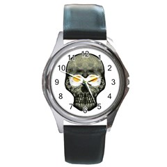 Skull With Fried Egg Eyes Round Metal Watch by dflcprints