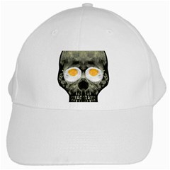 Skull With Fried Egg Eyes White Cap by dflcprints