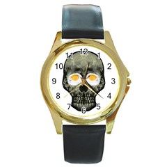 Skull With Fried Egg Eyes Round Gold Metal Watch by dflcprints