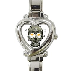 Skull With Fried Egg Eyes Heart Italian Charm Watch by dflcprints
