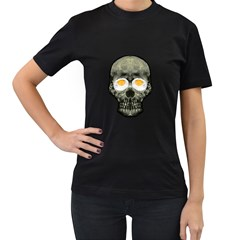 Skull With Fried Egg Eyes Women s T Shirt (black) by dflcprints