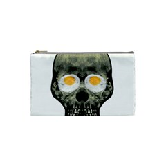 Skull With Fried Egg Eyes Cosmetic Bag (small)  by dflcprints