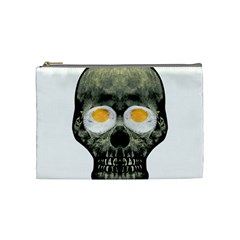Skull With Fried Egg Eyes Cosmetic Bag (medium)  by dflcprints