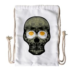 Skull With Fried Egg Eyes Drawstring Bag (large) by dflcprints