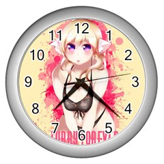 Blonde Hair Bikini Furry Girl Wall Clocks (silver)  by Catifornia