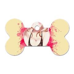 Blonde Hair Bikini Furry Girl Dog Tag Bone (two Sides) by Catifornia