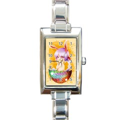 Easter Bunny Furry Rectangle Italian Charm Watch by Catifornia