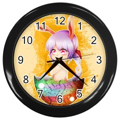 Easter Bunny Furry Wall Clocks (black) by Catifornia