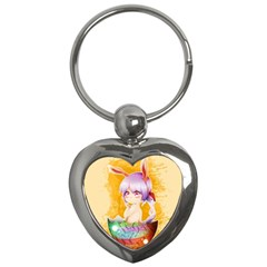 Easter Bunny Furry Key Chains (heart)  by Catifornia