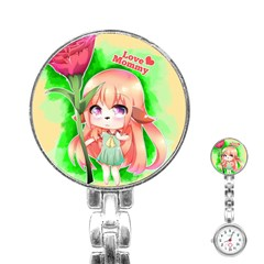 Happy Mother s Day Furry Girl Stainless Steel Nurses Watch by Catifornia