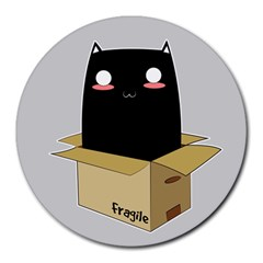 Black Cat In A Box Round Mousepads