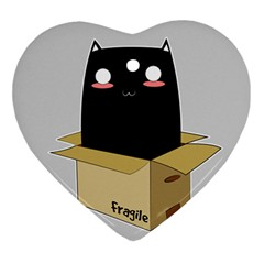 Black Cat In A Box Ornament (heart) by Catifornia