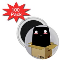 Black Cat In A Box 1 75  Magnets (100 Pack)  by Catifornia
