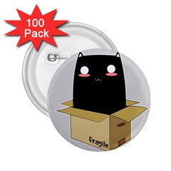 Black Cat In A Box 2 25  Buttons (100 Pack)  by Catifornia