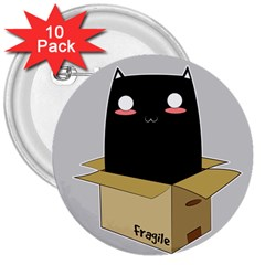 Black Cat In A Box 3  Buttons (10 Pack)  by Catifornia