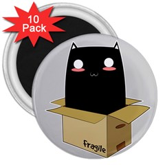 Black Cat In A Box 3  Magnets (10 Pack)  by Catifornia