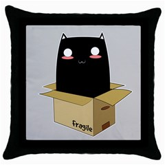 Black Cat In A Box Throw Pillow Case (black) by Catifornia