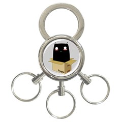 Black Cat In A Box 3 Ring Key Chains by Catifornia