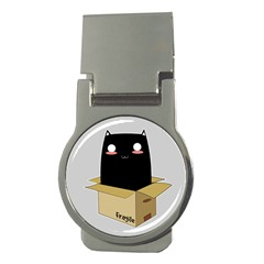 Black Cat In A Box Money Clips (round)  by Catifornia