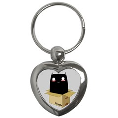 Black Cat In A Box Key Chains (heart)  by Catifornia