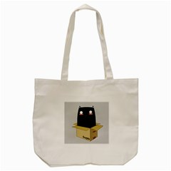 Black Cat In A Box Tote Bag (cream) by Catifornia
